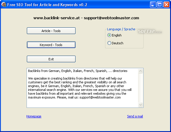 Free SEO Tool for Article and Keywords Screenshot