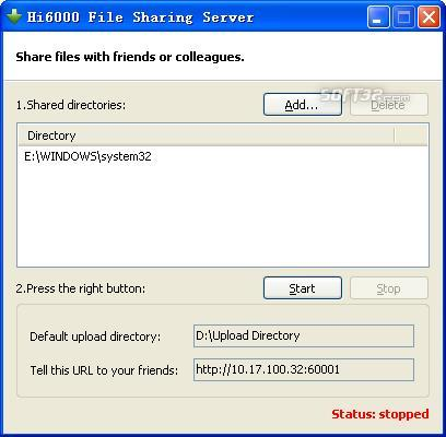 Hi6000 File Sharing Server Screenshot