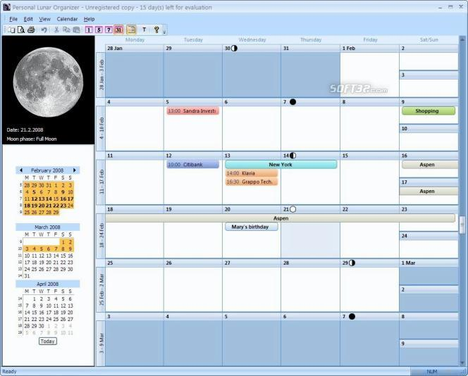Personal Lunar Organizer Screenshot 1