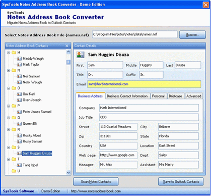 Export Lotus Notes Address Book Screenshot