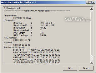 Wake-on-LAN Packet Sniffer Screenshot 3