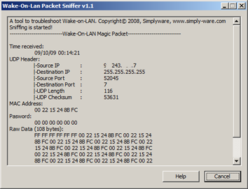 Wake-on-LAN Packet Sniffer Screenshot 1