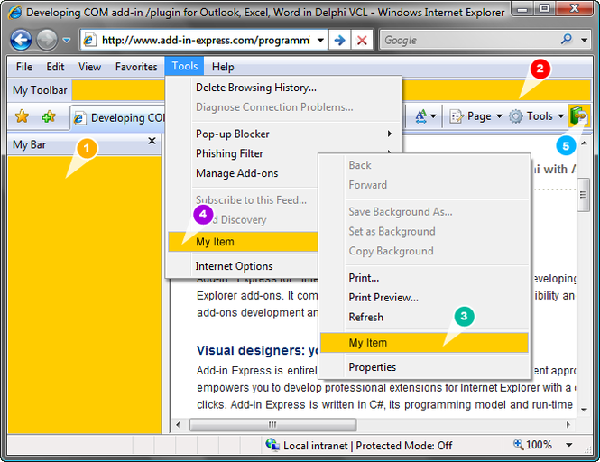 Add-in Express for Internet Explorer Screenshot