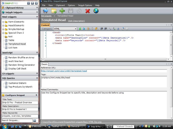 Snip-It Pro, A Code Snippet Manager Screenshot