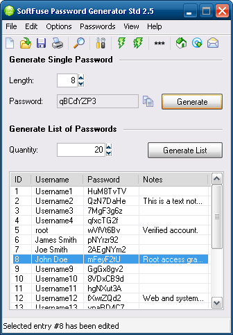 SoftFuse Password Generator Std Screenshot