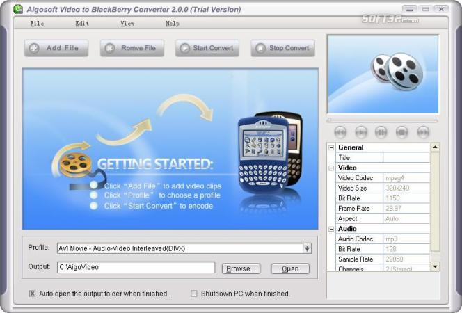 Aigo Video to BlackBerry Converter Screenshot