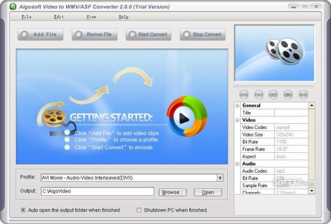 Aigo Video to WMV/ASF Converter Screenshot