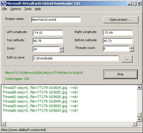 Microsoft VirtualEarth Hybrid Downloader Screenshot
