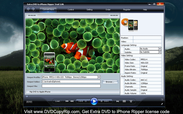 Extra DVD to iPhone Ripper Screenshot