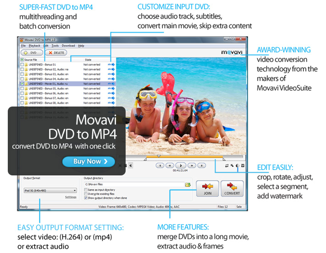 Movavi DVD to MP4 Screenshot