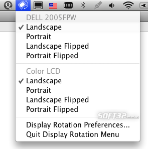 Display Rotation Menu Screenshot