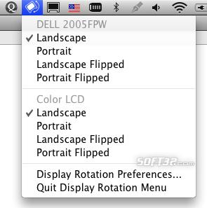 Display Rotation Menu Screenshot