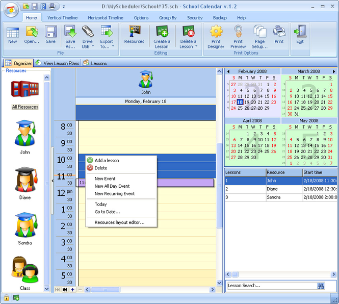 School Calendar Screenshot 1