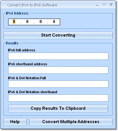 Convert IPv4 to IPv6 Software Screenshot