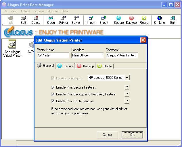 Alagus Print Port Manager Screenshot