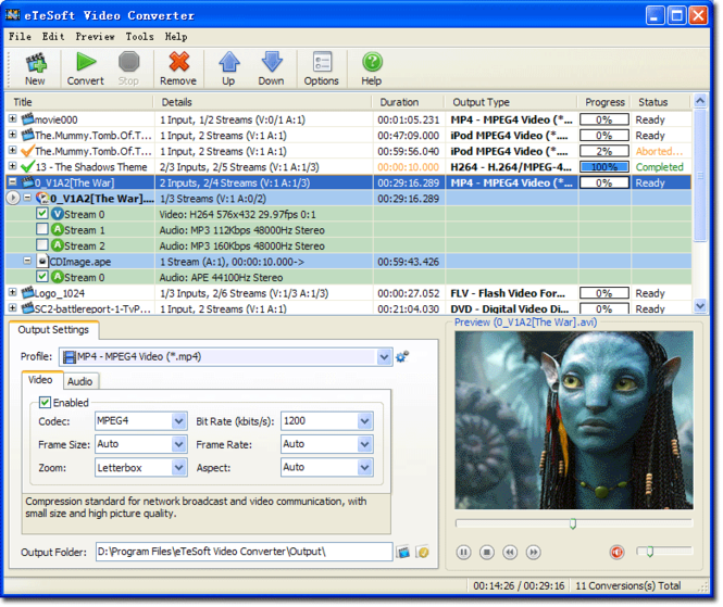 eTeSoft Video Converter Screenshot