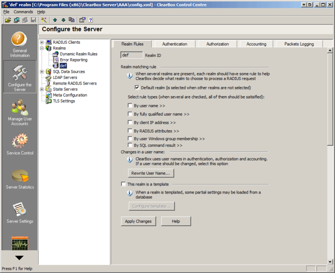 ClearBox Enterprise RADIUS Server Screenshot
