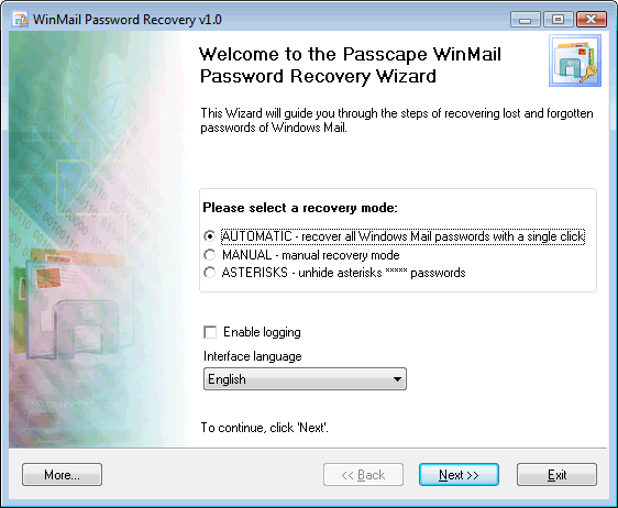Windows Mail Password Recovery Screenshot