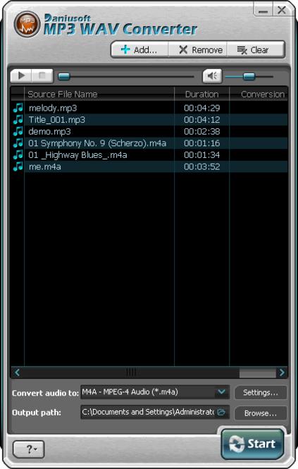 Daniusoft MP3 WAV Converter Screenshot