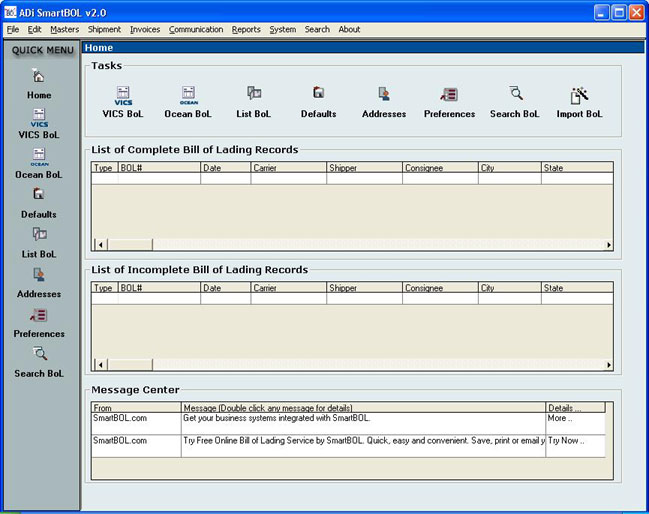 SmartBOL Bill of Lading Software Screenshot 1