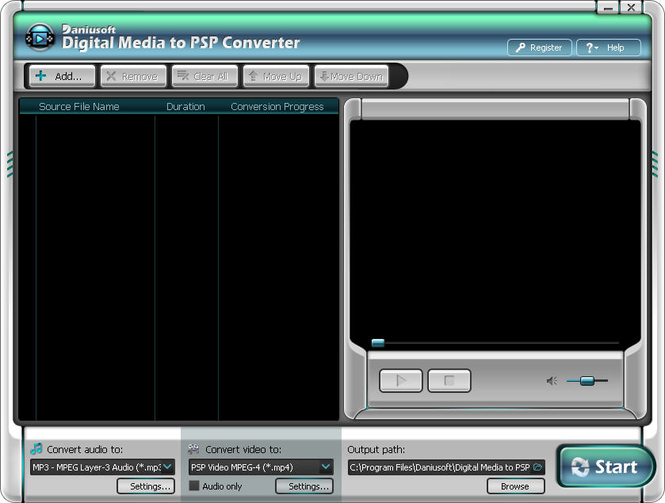 Daniusoft Digital Video to PSP Converter Screenshot 1