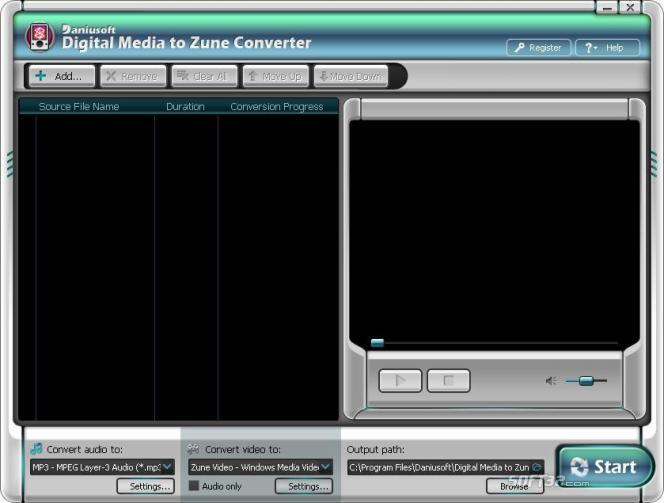 Daniusoft Digital Video to Zune Converter Screenshot 2