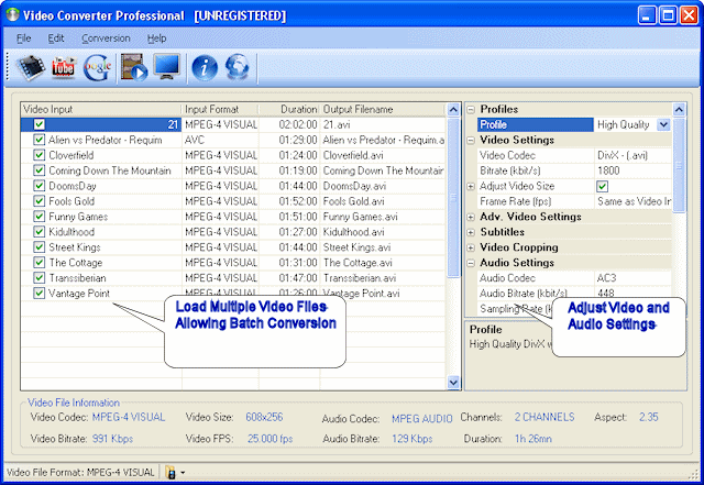 Jesterware Video Converter Professional Screenshot 1