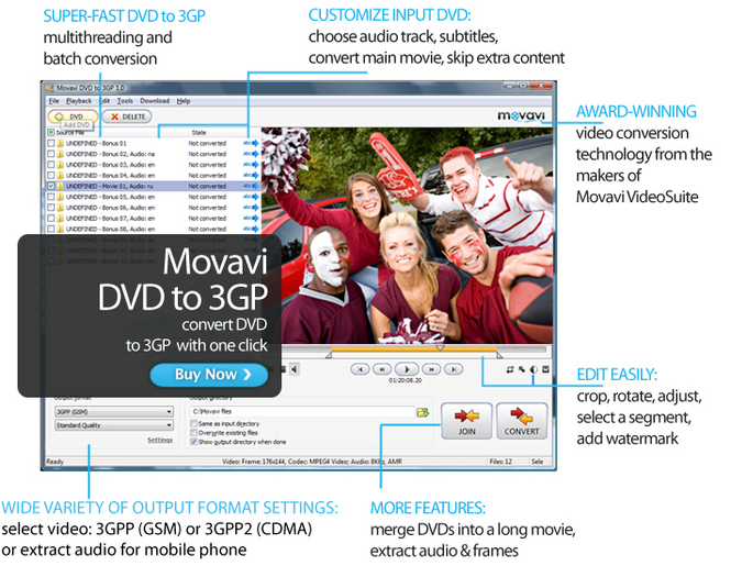 Movavi DVD to 3GP Screenshot