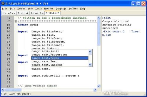 SciTE4D Text Editor Screenshot 2