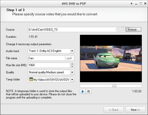 AVS Video to PSP Screenshot 2