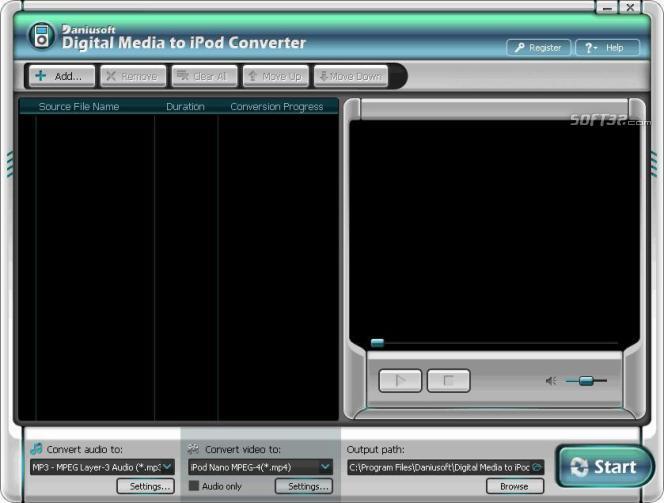 Daniusoft Digital Video to iPod Converter Screenshot 2