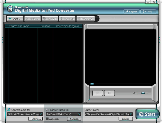 Daniusoft Digital Video to iPod Converter Screenshot