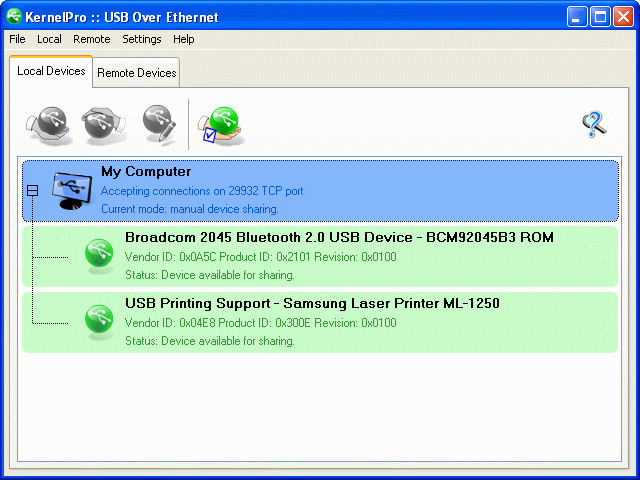 USB over Ethernet Screenshot 1