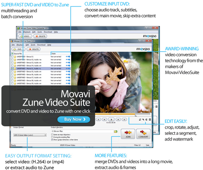 Movavi Zune Video Suite Screenshot 1