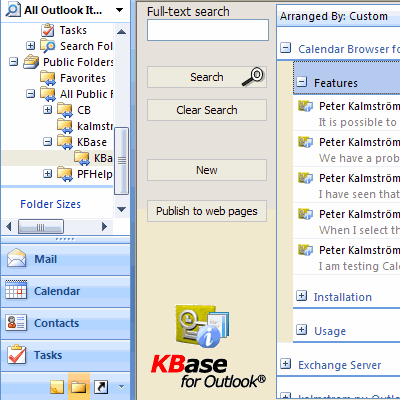 KBase for Outlook Screenshot