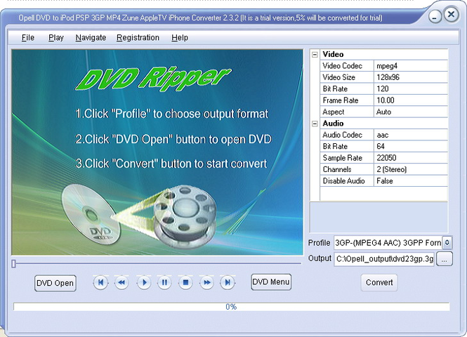 Opell DVD to iPod PSP 3GP MP4 Converter Screenshot 1