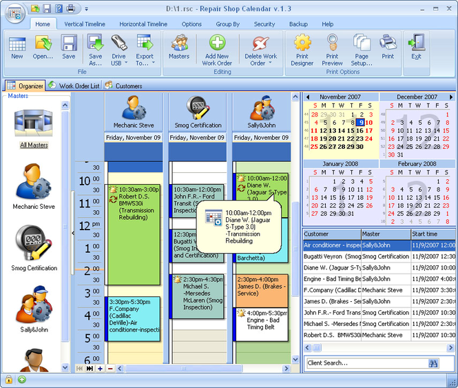 Repair Shop Calendar for Workgroup Screenshot