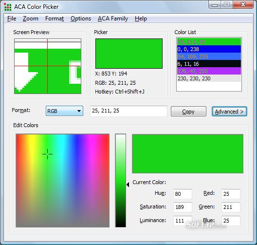 ACA Color Picker Screenshot 2