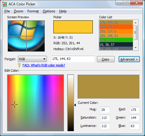 ACA Color Picker Screenshot