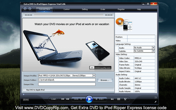Extra DVD to iPod Ripper Express Screenshot 1