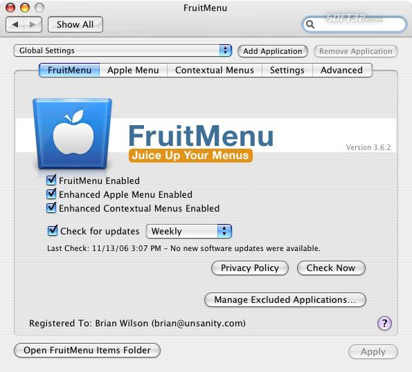 FruitMenu Screenshot