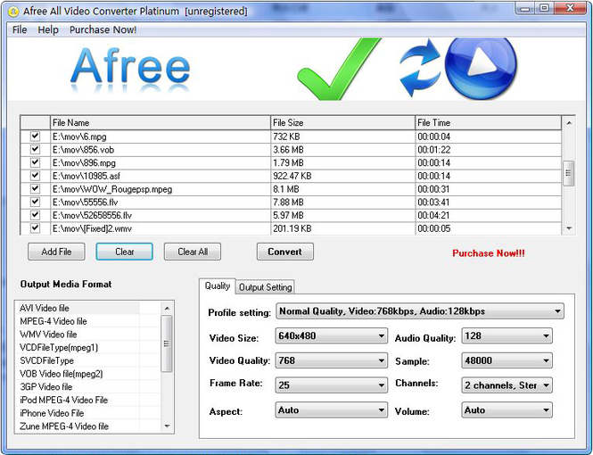 Afree All Video Converter Platinum Screenshot 1