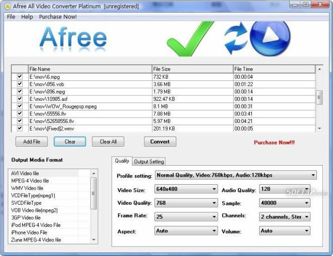 Afree All Video Converter Platinum Screenshot 3