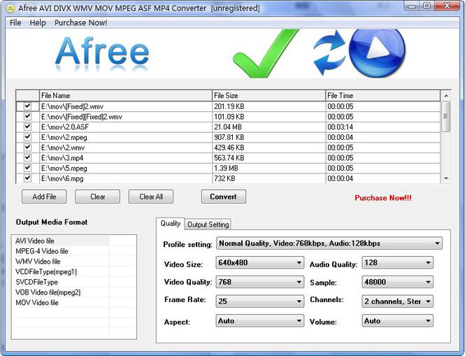 Afree AVI DIVX WMV MOV MPEG Converter Screenshot