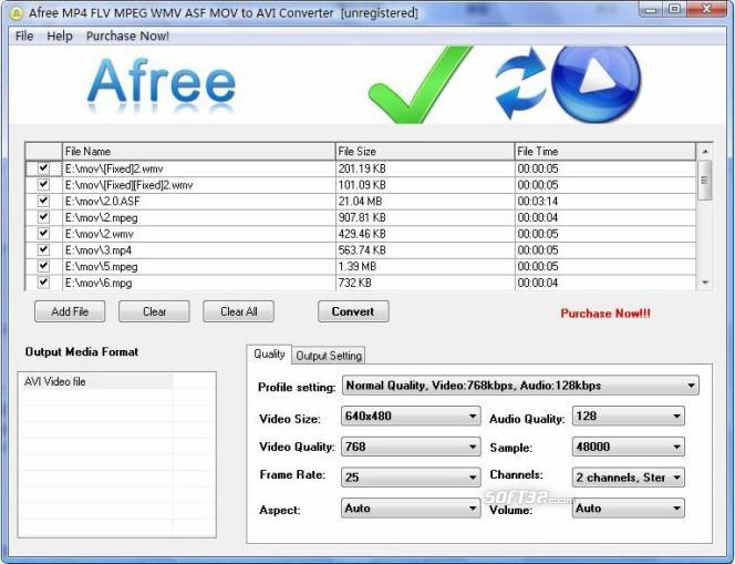 Afree MP4 FLV MPEG WMV to AVI Converter Screenshot 3