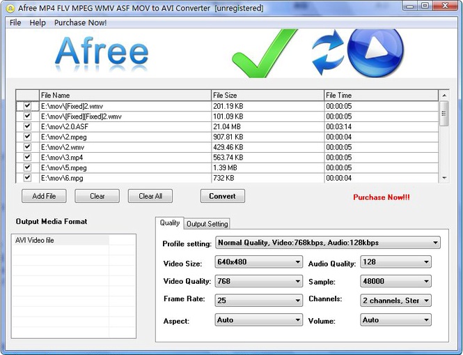 Afree MP4 FLV MPEG WMV to AVI Converter Screenshot