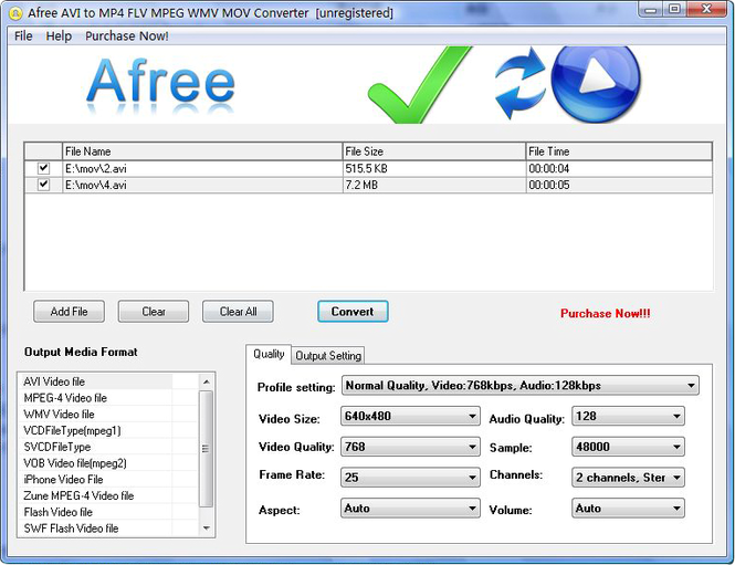 Afree AVI to MP4 FLV MPEG WMV Converter Screenshot 1