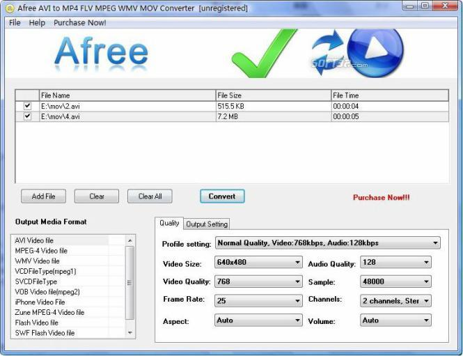 Afree AVI to MP4 FLV MPEG WMV Converter Screenshot 3