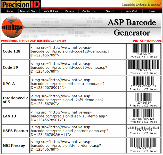 Native ASP Barcode Generator Screenshot