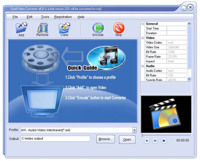 Opell Video to PSP Converter Screenshot
